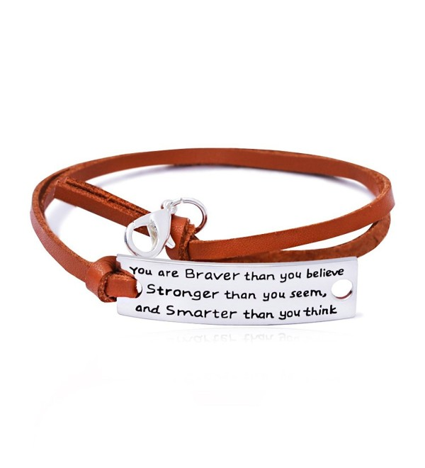 Resizable Leather Bracelet - You're Braver Stronger Smarter than you believe Inspiration Bangle Gift - CL17YRLNZ77