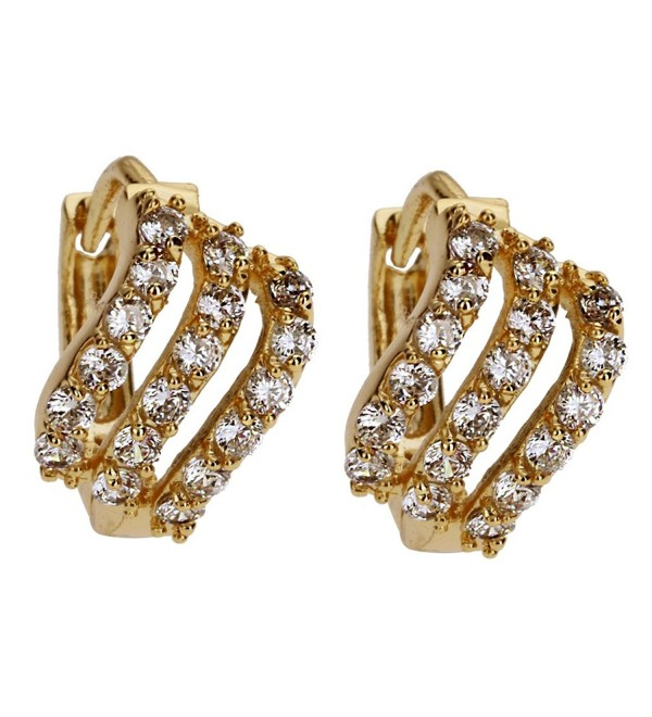 YAZILIND Jewelry Attractive 18K Gold Plated Crystal Hoop Earrings For Women Prom Wedding Party - Small Crystal - CH12KUTA0V5