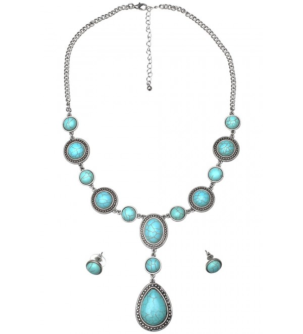 Necklace and Earring Set - Teardrop- Turquoise Magnesite - CB187C7QW82