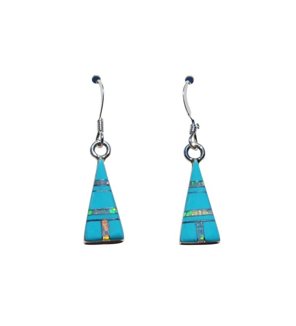 Small Pyramid Shape Handcrafted St. Silver Inlaid Stabilized Turquoise Created Opal Stone Earrings - C912D8M0M8D