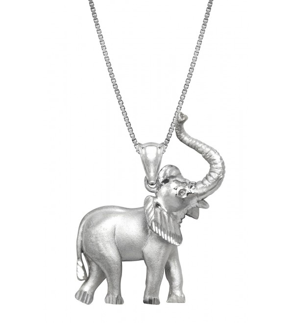 "Sterling Silver Elephant Necklace Pendant with 18"" Box Chain - C3119CN92PH"