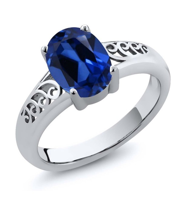 1.03 Ct Oval Blue Simulated Sapphire 925 Sterling Silver Women's Solitaire Ring (Available in size 5- 6- 7- 8- 9) - CU119PAMJZV