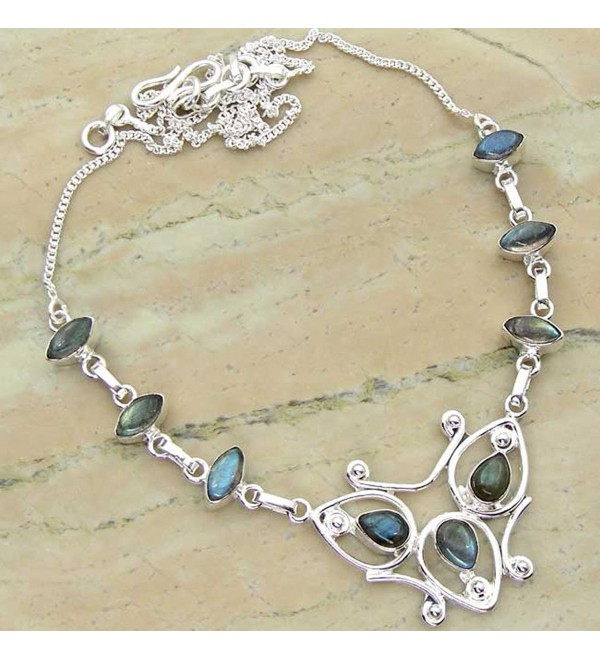 6.72ctw Genuine Labradorite .925 Sterling Silver Overlay Handmade Necklace Jewelry - CE11XEBLP53