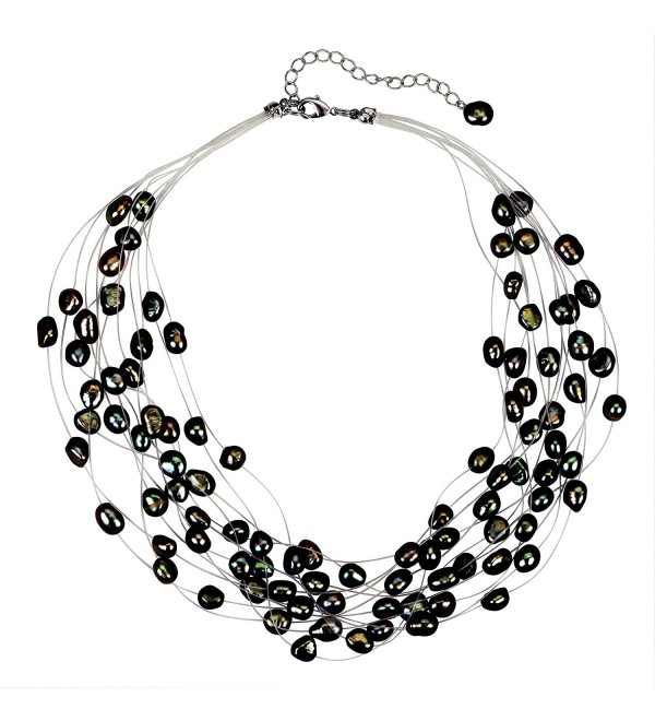 Regalia Multi Strand Baroque Black Freshwater Cultured Pearl Floating Necklace - CD1833Q7KKI