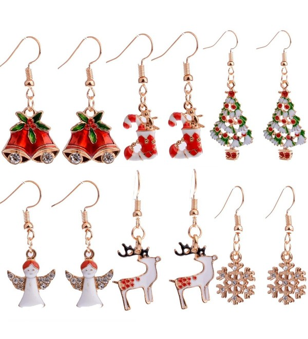 6 Pairs Christmas Dangle Earrings for Women Girls Christmas Tree Stockings Angel Deer Snowflake Bells - CA12NH7CWDK
