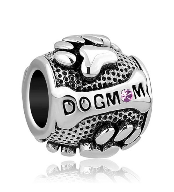 DemiJewelry Mom Dog Charms Paws Animal Silver Plated Charms Beads For Bracelets - CO17YW3TRO7