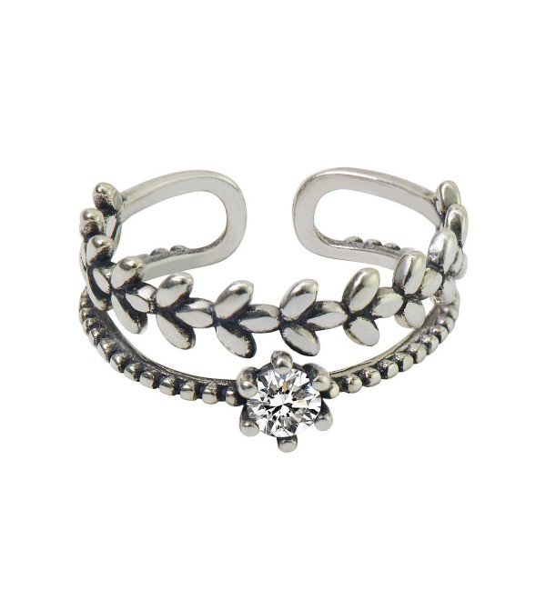 CIShop Sterling Silver Stack Vintage Above Knuckle Rings Band Finger Rings - CZ LEAF - C4188RKS40Z