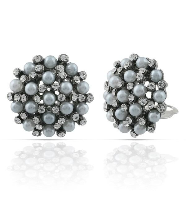 JanKuo Jewelry Black Rhodium Plated Vintage Style Simulated Pearls with Crystal Stones Clip On Earrings - CC12BC3YN85