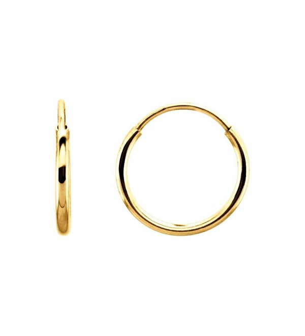 14k Yellow Gold 10mm Endless Hoop Earrings C211ba5snpj