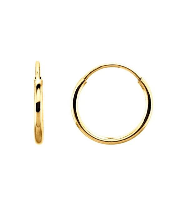 14k Yellow Gold 10mm Endless Hoop Earrings - C211BA5SNPJ