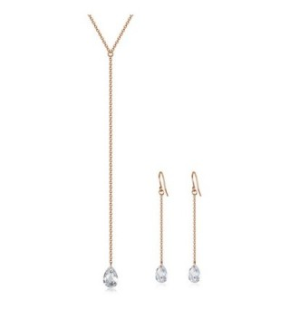 Lariat Y Necklace with CZ Droplet | Dangle Earrings | Rhodium or 14K Gold over 925 Sterling Silver - C9183KGTEXQ