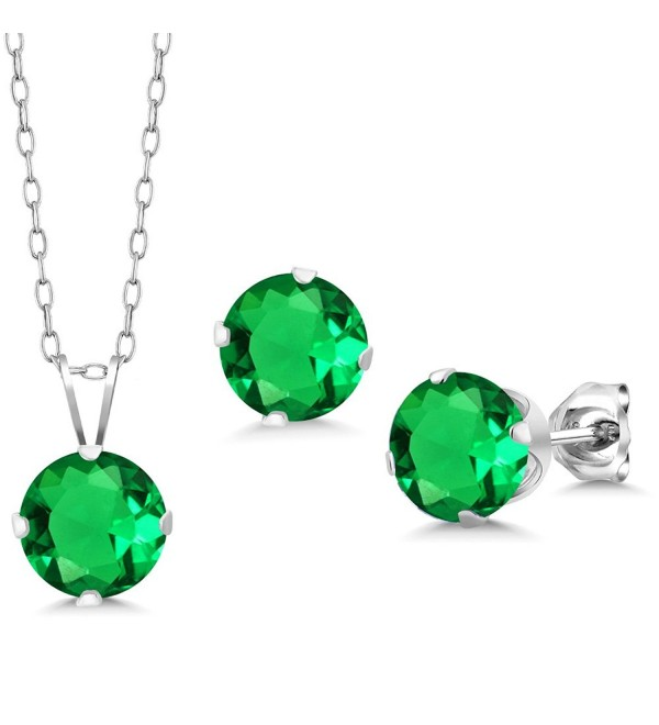 3.66 Ct Round 7mm Green Nano Emerald 925 Silver Stud Pendant Earrings Set - CZ11LSIIVFL