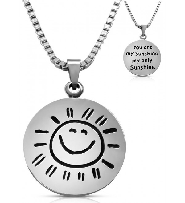 "Stainless Steel ""You Are My Sunshine My Only Sunshine"" Necklace Jewelry Gift Women Teens Girls - C6124YVLPJR"