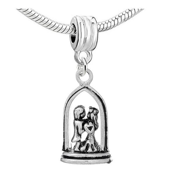 Wedding Bride and Groom Dangle Charm Bead for Snake Chain Charm Bracelets - CP122N06HHL