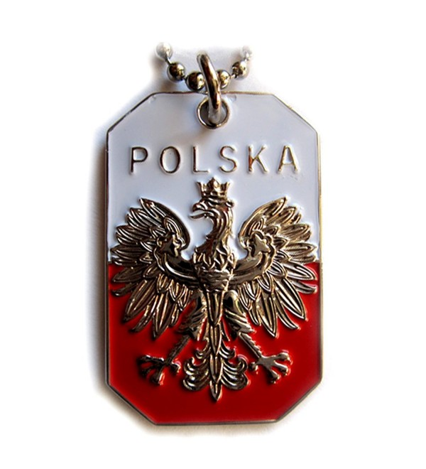 POLAND FLAG POLISH EAGLE POLSKA CREST PENDANT DOG TAG ARMY BALL CHAIN NECKLACE - CA114GROXG7