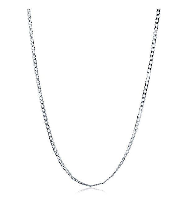 BERRICLE Italian Rhodium Plated Sterling Silver Flat Curb Chain Necklace 3mm - C711ERTW55Z