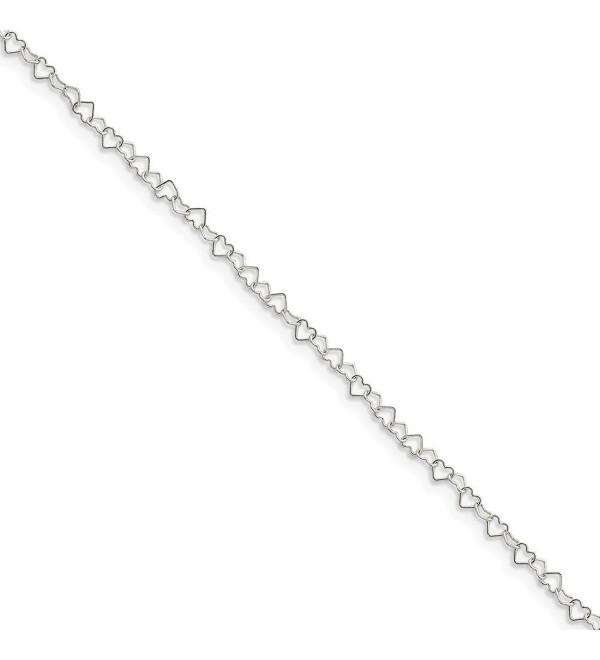 Sterling Silver 10in 0.5mm Fancy Heart Link Anklet - CD119CBETPR