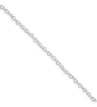 Sterling Silver 10inch Polished Fancy Heart Link Anklet