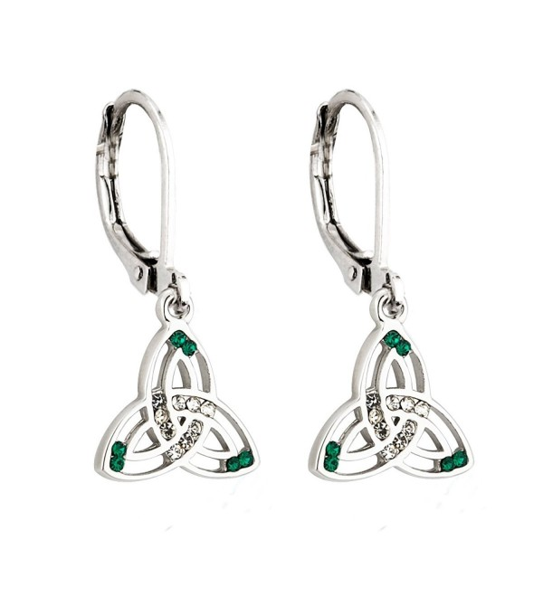Irish Knot Earrings Rhodium Plated & Crystal Made in Ireland - C1116HF129H