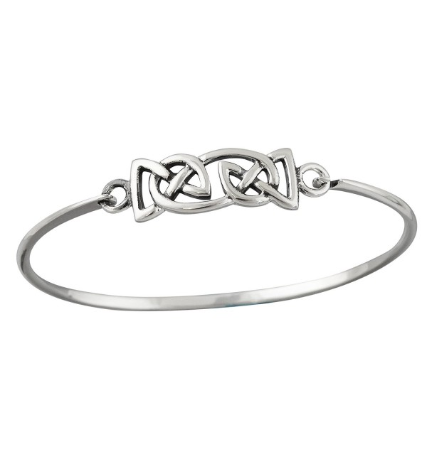 Sterling Silver Celtic Knot Trinity Bangle Bracelet - C512BDTN1MR