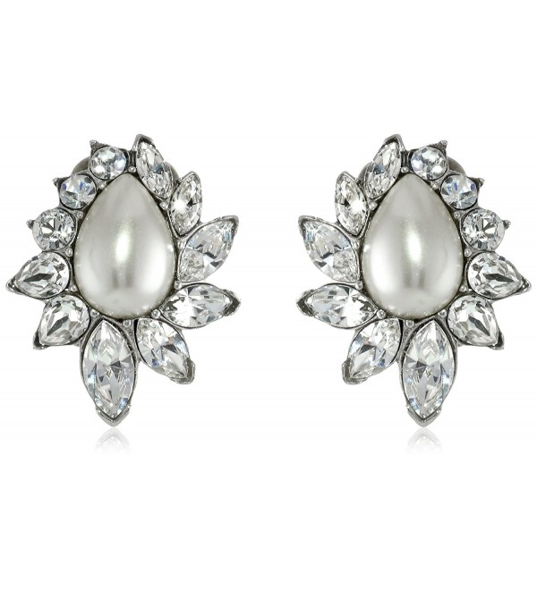 Ben-Amun Jewelry Glass Pearl and Swarovski Crystal Clip-On Earrings for Bridal Wedding Anniversary - C711H446IQ7
