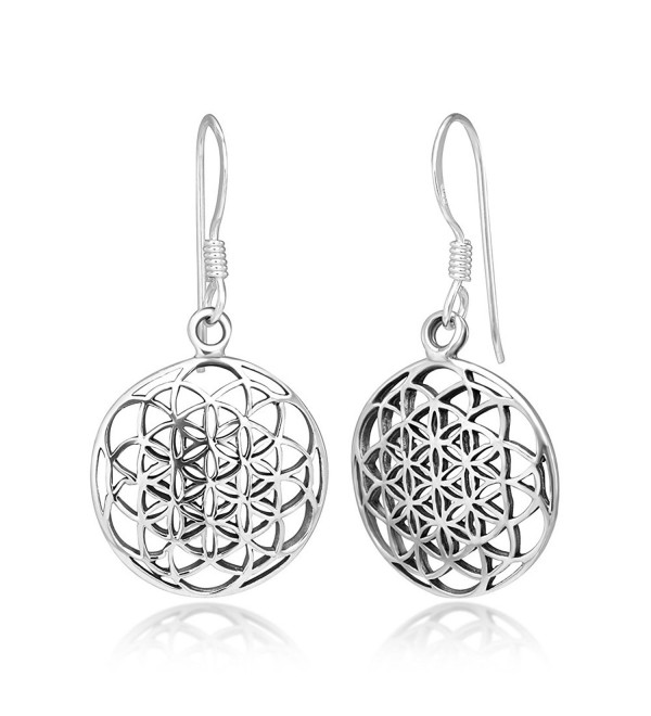 925 Sterling Silver Filigree Flower of Life Mandala Cut Open Round Dangle Hook Earrings- 33 mm - C011ASVJKIZ
