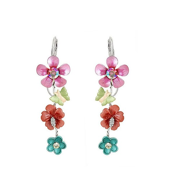 Glamorousky Pink and Blue Flower Earrings with Pink and Silver Austrian Element Crystals (789) - CE118SODUPJ