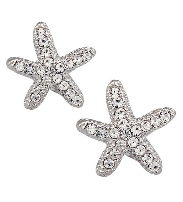 DUOKA Silver Plated Crystal Starfish Stud Earring - C512BL8UZJ7