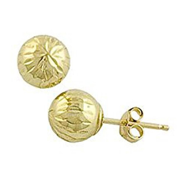 10K Yellow Gold Diamond Cut Ball Stud Earring - C512GSPGUCJ