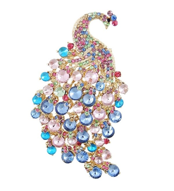 EVER FAITH Women's Austrian Crystal 4 Inch Elegant Peacock Animal Brooch - Multicolor Gold-Tone - CD11BGDMHUD
