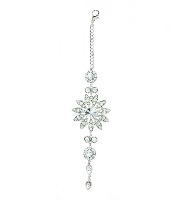 Clear Rhinestone Floral Designed Back Chain Necklace in Silver-Tone - CX11XSP38CN