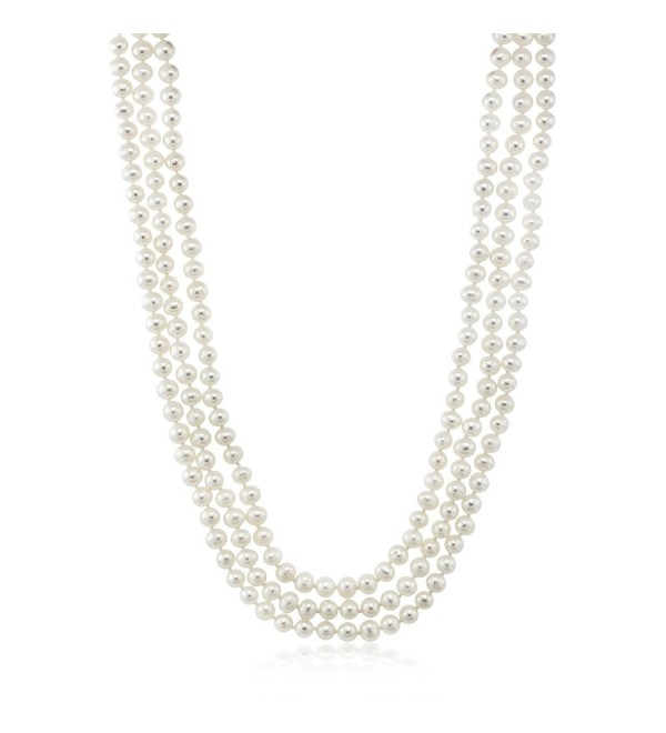 "White Endless 72"" Cultured Freshwater Pearl Necklace Individually Hand Knotted - CM17Z4YUWET"
