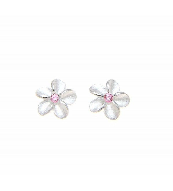 Sterling silver 925 Hawaiian plumeria flower post stud earrings 8mm pink cz - CX182GR9HWQ