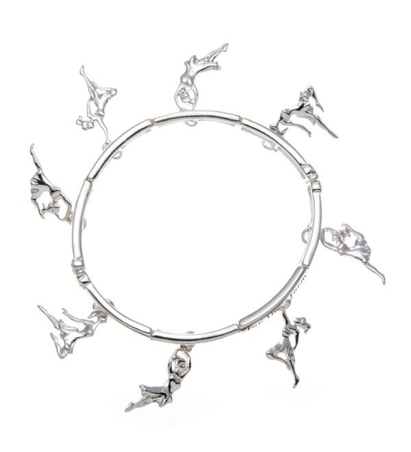 PammyJ Silvertone Dance Inspirational Charm Stretch Bracelet - CH11RQEICLT