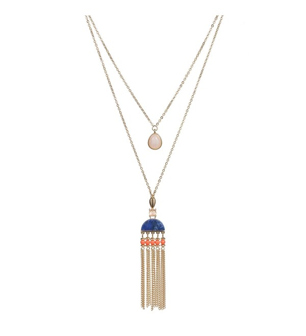 Fettero Long Gold Tassel Necklace 14K Pendant Bohe Handmade Jewelry Natural Stone Y Chain - Blue Stone - CE187YZUK9I