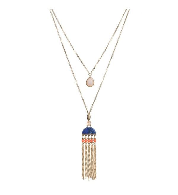 Fettero Long Gold Tassel Necklace 14K Pendant Bohe Handmade Jewelry Natural Stone Y Chain - Blue Stone - CE187YZUK9I