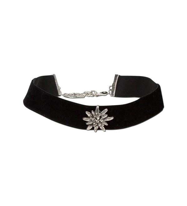 Bavarian Rhinestone Edelweiss Velvet Choker wide (Black) - Traditional German Dirndl- Lederhose Jewelry - CK11K4KENG5