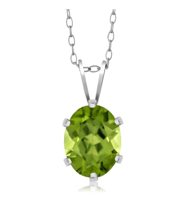 Sterling Silver Green Peridot Pendant Necklace (2.00 cttw- Oval 9X7MM- With 18 Inch Silver Chain) - C7115KK3H25
