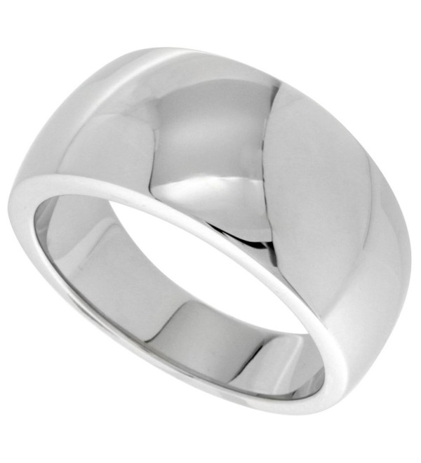 Surgical Stainless Steel Domed Cigar Band Ring Polished finish 7/16 inch long- sizes 5 - 9 - CB117NO85TL