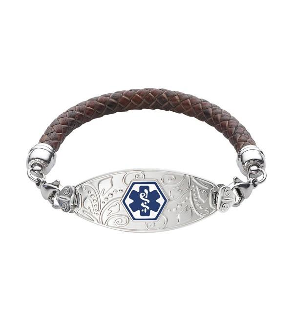 Divoti Custom Engraved Lovely Filigree Medical Alert Bracelet -Brown Braided Leather Chain -Deep Blue - C612MXCXVQG