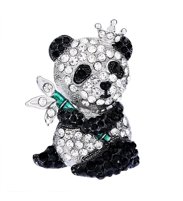 EVER FAITH Women's Austrian Crystal Lovely King Panda Crown Animal Brooch - Clear Silver-Tone - CZ12ODOB9WG
