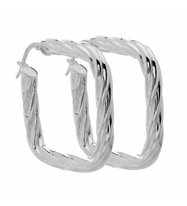 Amoro Italian Sterling Silver Twist Cushion Earrings 33mm x 33mm - CM115DQ9P8L
