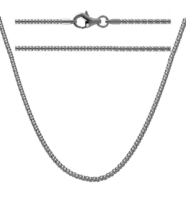 Sterling Silver Antiqued Popcorn Chain Necklace Oxidized - CU17Z33ALZ2