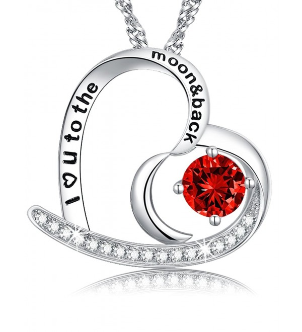 Mothers necklace sterling swarovski Anniversary - Ruby Heart & Moon Necklace - C91897Y2L8C