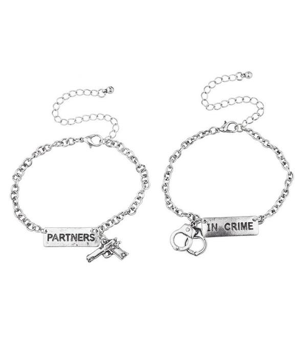 Lux Accessories Silvertone Partners in Crime Gun Handcuffs Bracelet Set 2PC - C11864MC72Y