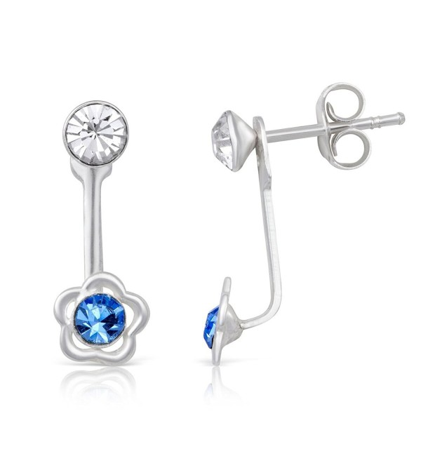 Sterling Silver White & Aquamarine Crystal Flower Rhodium Plated Jacket Earrings - CO184RW9QER