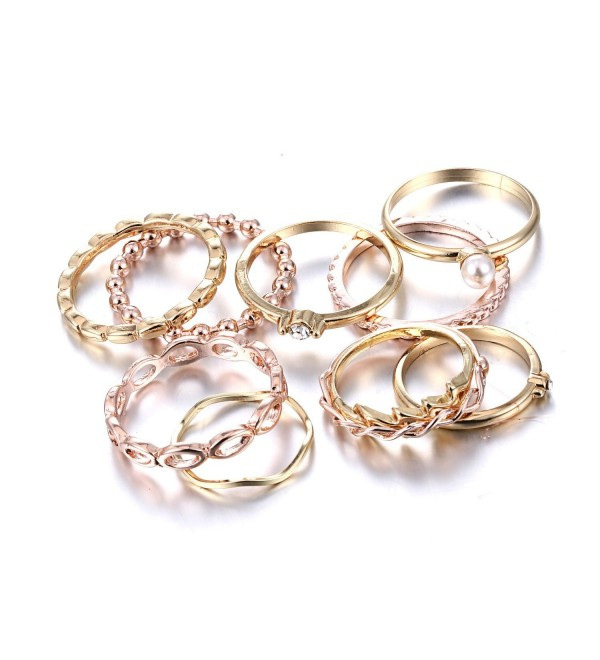 RINHOO FRIENDSHIP 10PCS Bohemian Retro Vintage Crystal Joint Knuckle Ring Sets Finger Rings - C9189MWE3HG