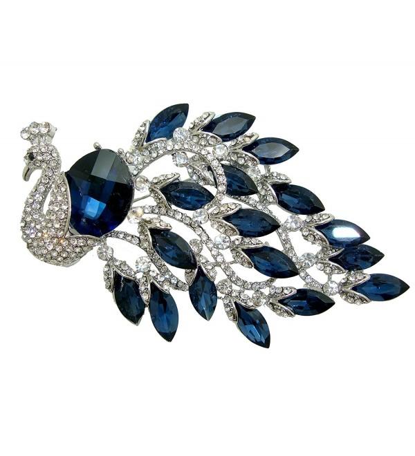 TTjewelry Elegant Peacock Bird Austrian Crystal Brooch Pin - Blue - CB127ZGPYRR