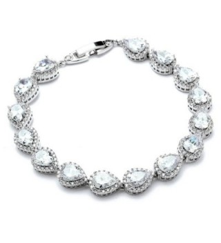 """Mariell 6 1/2"""" CZ Wedding Bridal Tennis Bracelet with Pear-Shaped Halos - Petite Size for Smaller Wrist - C312NA3IEGK"""