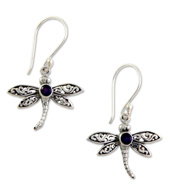 NOVICA .925 Sterling Silver Amethyst Dangle Hook Earrings- 'Enchanted Dragonfly' - C1127MO4Q3P